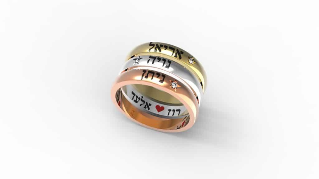 טבעת עם שם, טבעות שמות, טבעת עם שמות הילדים. - תכשיטי שמות