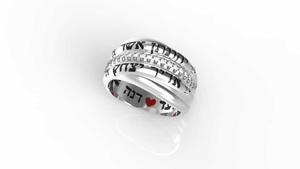 טבעת עם שמות הילדים מעוצבת עם חריטה - תכשיטי שמות
