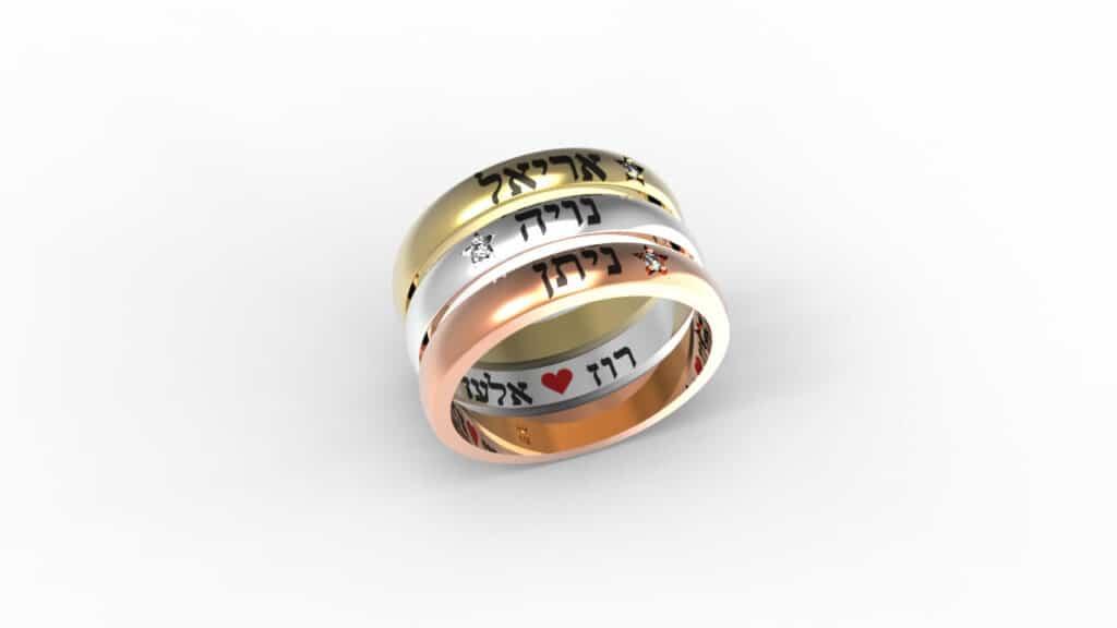 טבעות זהב לבן אדום צהוב משבצות יהלומים עם שמות הילדים תכשיטי שמות