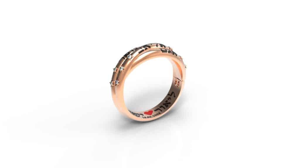 טבעת זהב אדום משבצת יהלומים עם שמות הילדים תכשיטי שמות