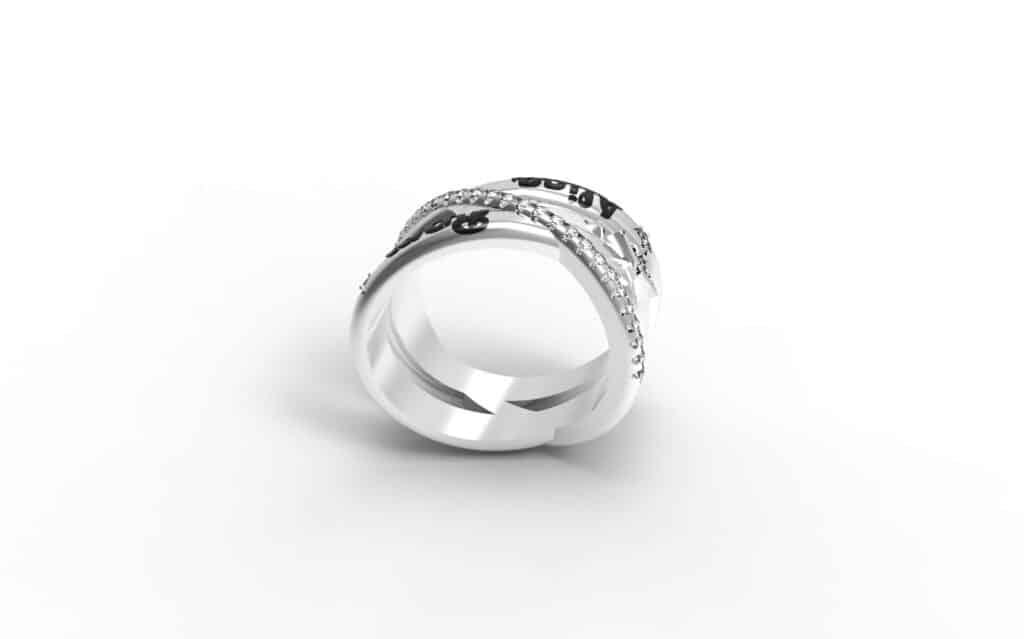 טבעת זהב לבן משולבת ומשבצת יהלומים עם שמות הילדים תכשיטי שמות